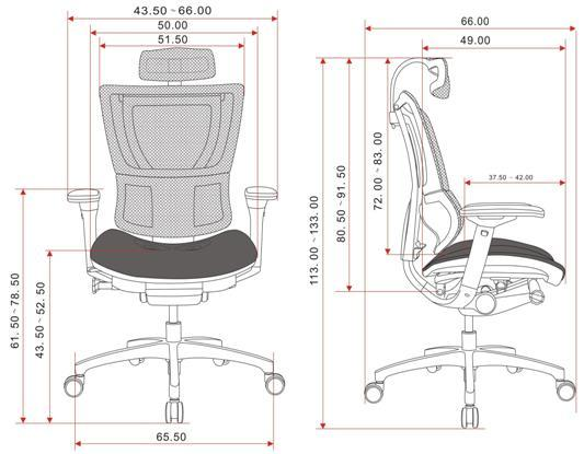 Wygodny fotel do komputera Ioo - wymiary