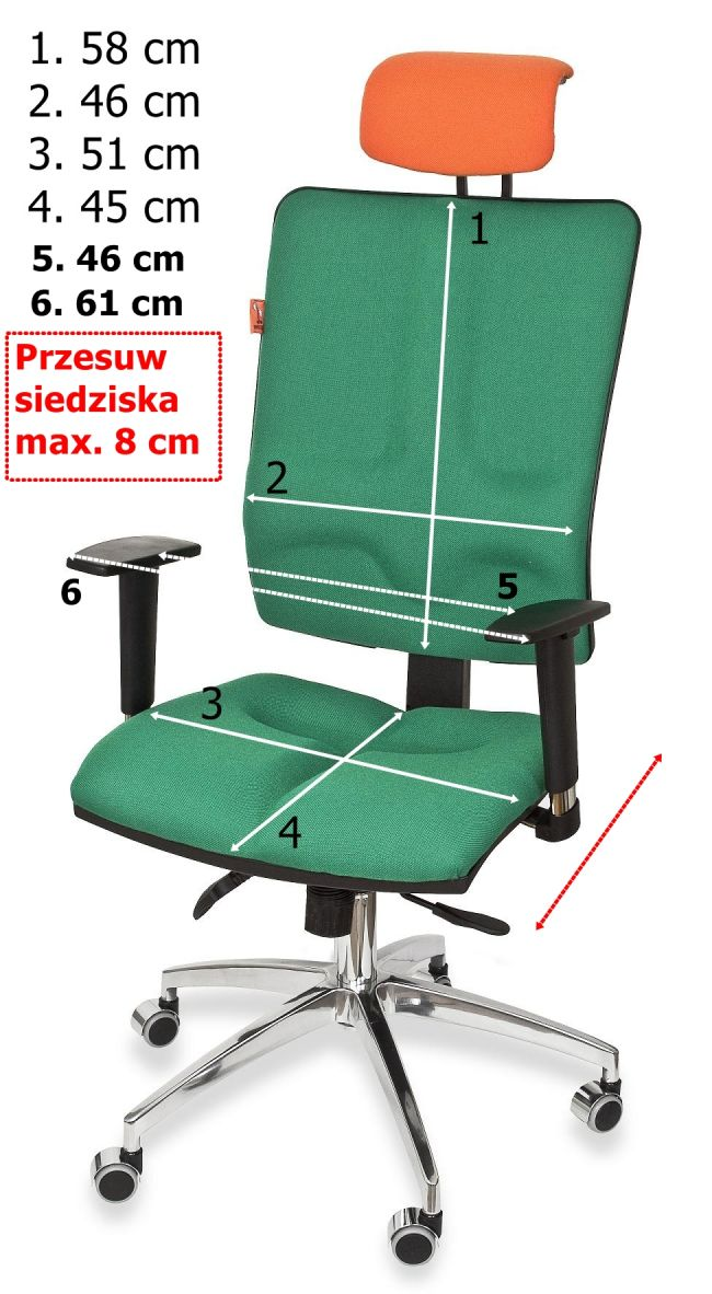 Wymiary krzeseł biurowych ergonomicznych Galaxy